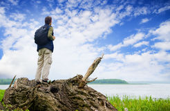 The tourist looking in a distance Royalty Free Stock Photo
