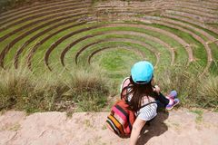 Tourist looking on inca sacred valey. In Moray Peru Stock Images