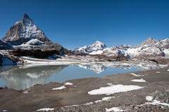 Tourist looking at Matterhorn peak. Tourist admiring beautiful landscape near Matterhorn, Switzerland Stock Image