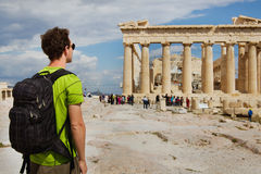 Tourist looking at Parthenon Stock Photos