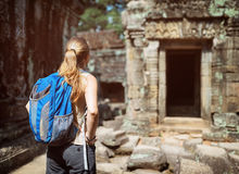 Tourist looking at the Preah Khan temple in Angkor, Cambodia Stock Photography