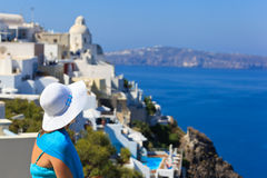 Tourist looking at Santorini, Greece Royalty Free Stock Image
