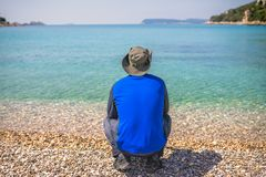 Tourist looking at the stunning Croatian coast stock photos