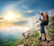 Tourist looking at the sun Royalty Free Stock Photography