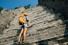 tourist looking up on the way to climbing of great wall Royalty Free Stock Photo