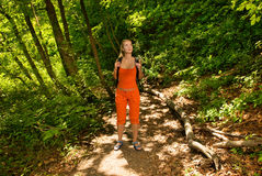 Tourist lost in forest. Picture of a Tourist lost in forest Stock Photography