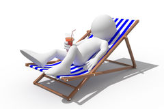 Tourist lying on a deck chair drinking a soda Stock Photography