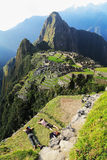 Tourist lying down at Machu Picchu, Peru Stock Images