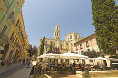 Tourist on Main square, Figueres, Spain Stock Photos