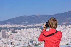 Tourist making photos of Athens, Greece Stock Photo