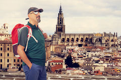 Tourist man with backpack Royalty Free Stock Image
