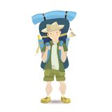 Tourist man with a big backpack. Vector cartoon illustration Stock Photos