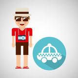Tourist man with camera and cab service Royalty Free Stock Photo