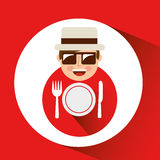 Tourist man with camera and restaurant symbol Royalty Free Stock Photos