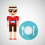 Tourist man with camera and restaurant symbol Royalty Free Stock Photo