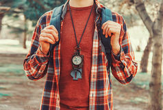 Tourist man with a compass Royalty Free Stock Photography