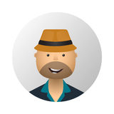 Tourist man in hat and sunglasses flat style icon. Royalty Free Stock Images