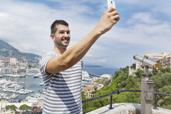 tourist man  making selfie in Monaco,France Stock Photo