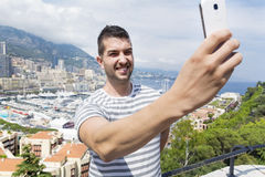 Tourist man  making selfie in Monaco,France Royalty Free Stock Photography