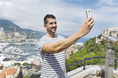 Tourist man  making selfie in Monaco,France Royalty Free Stock Photo
