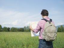 Tourist man mountain Stock Images