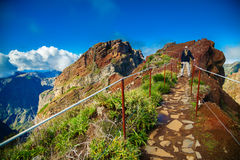 Tourist man standing on the footpath at Pico do Arieiro Royalty Free Stock Image