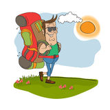 tourist man traveling with backpack Stock Image