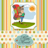 Tourist man traveling with backpack Royalty Free Stock Images