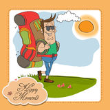 Tourist man traveling with backpack Royalty Free Stock Photo