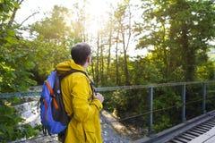 Tourist man walking across wooden bridge Stock Images