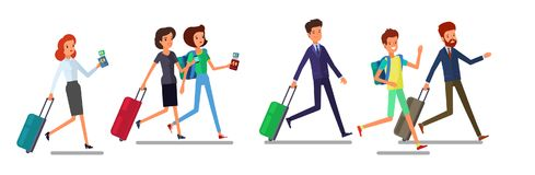 Tourist man and woman running. Traveling people in trip wear with luggage hurry, late for plane or registration. Front. Concept of travel. Tourists and royalty free illustration