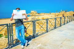The tourist with a map Stock Photos