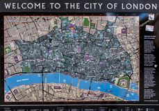 Tourist map of The City of London Stock Photos