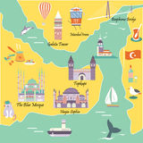 Tourist map with famous destinations and landmarks of Istanbul. Tourist Istanbul map with famous destinations and landmarks Royalty Free Stock Image