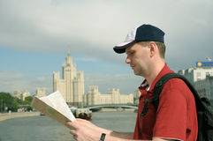 Tourist with Map in Moscow royalty free stock images