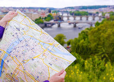 Free Tourist Map Of Prague On The Background Of The Panorama Of The C Stock Photo - 89650860