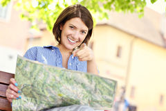 Tourist with map Royalty Free Stock Images