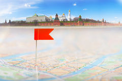 Tourist map and red tag Royalty Free Stock Images