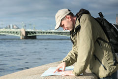 Tourist with a map in St. Petersburg, Russia Royalty Free Stock Photo
