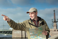 Tourist with a map in St. Petersburg, Russia Stock Photography