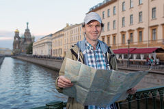 Tourist with a map in St. Petersburg, Russia Royalty Free Stock Images