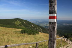 Tourist mark in Krkonose mountains Royalty Free Stock Photos