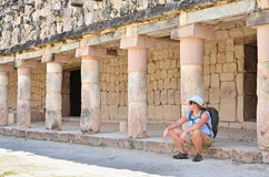 Tourist in Mayan ruins Royalty Free Stock Images