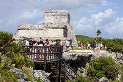 Tourist at Mayan Temples at Tulum, Mexico Stock Photography