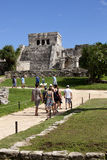 Tourist at Mayan Temples at Tulum, Mexico Royalty Free Stock Photo