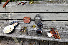 Tourist meal portable oven fire survival kit. There are meal of tourists ,ready to eat noodles with meat and hot tea , which was preparing on portable oven Royalty Free Stock Photo