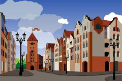 Tourist medieval city. Image of houses, streets, town hall, lant. Erns. Vector illustration Royalty Free Stock Photos
