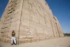 Tourist in Medinet Habu Temple Royalty Free Stock Image