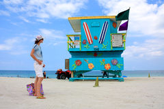 Tourist in Miami South Beach Lifeguard Stand Royalty Free Stock Images