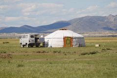 Tourist mini bus parked at the yurt, circa Harhorin, Mongolia. Stock Photography